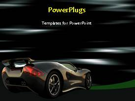PowerPlugs: PowerPoint template with beautiful black colored sport car on animated background