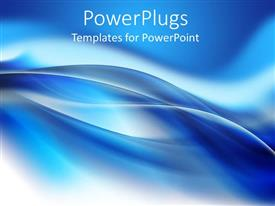 PowerPlugs: PowerPoint template with beautiful blue abstract background with smooth wavy lines