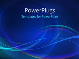 PowerPlugs: PowerPoint template with beautiful blue colored waves flowing over dark blue color