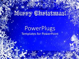 PowerPlugs: PowerPoint template with a beautiful blue representation of the Christmas celebrations with stars