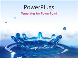 PowerPoint template displaying beautiful blue water drop splash close-up