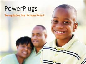 PowerPlugs: PowerPoint template with a beautiful boy smiling along with his family