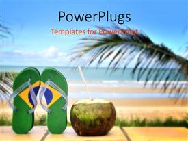 PowerPoint template displaying beautiful Brazilian beach with straw out of coconut and palms