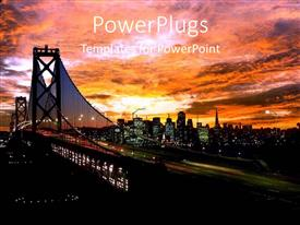 PowerPlugs: PowerPoint template with the beautiful bridge with skyscrapers in the background