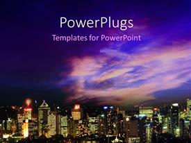 PowerPlugs: PowerPoint template with beautiful Brisbane Skyline with nice sky in the background