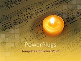 PowerPlugs: PowerPoint template with a beautiful burning candle with music notes in the background