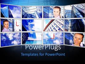 PowerPlugs: PowerPoint template with a lot of screens with bluish background