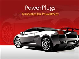 PowerPoint template displaying a beautiful car with reddish background and place for text