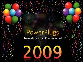 PowerPlugs: PowerPoint template with a beautiful celebration of the new year with the help of balloons