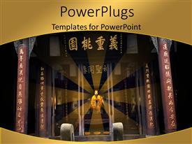 PowerPoint template displaying beautiful Chinese memorial temple with king sitting on throne