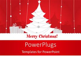 PowerPoint template displaying beautiful Christmas decoration with gift boxes on red and white theme