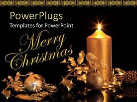 PowerPoint template displaying beautiful Christmas decorations along with a candle and other materials