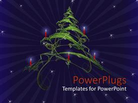 PowerPlugs: PowerPoint template with a beautiful Christmas tree in the air with stars in the background