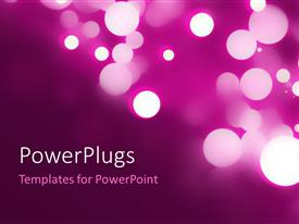 PowerPoint template displaying beautiful circular bokeh on purple background