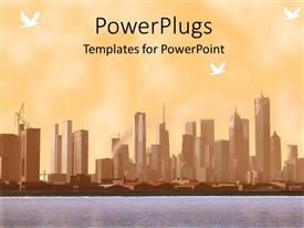 PowerPlugs: PowerPoint template with a beautiful city ladscape with a lake in front