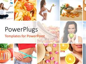 PowerPlugs: PowerPoint template with a number of beautiful girls with white background