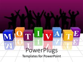 PowerPoint template displaying a beautiful collection of boxes creating the word motivation