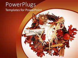 PowerPlugs: PowerPoint template with a beautiful collection of leaves with orange background