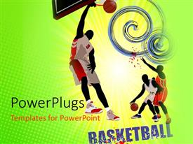 PowerPoint template displaying beautiful colored basketball flyer with player jumping to basket
