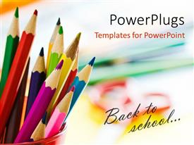 PowerPlugs: PowerPoint template with beautiful colored pencils in red cup with text back to school