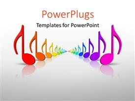 PowerPlugs: PowerPoint template with beautiful colorful 3D rainbow music notes in many colors with grey color