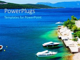 PowerPlugs: PowerPoint template with a sea with a number of ships