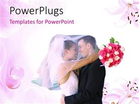 PowerPlugs: PowerPoint template with beautiful couple hugging with bride holding bouquet on colorful background