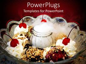 PowerPlugs: PowerPoint template with beautiful cream cakes in the picture with cherries on top