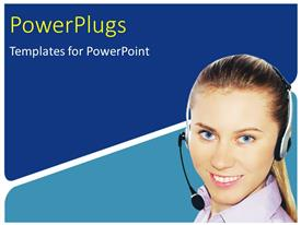 PowerPoint template displaying beautiful customer support agent with headphone and microphone over blue background