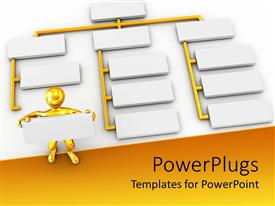 PowerPoint template displaying beautiful depiction of a 3D figure and various boxes