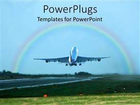 PowerPlugs: PowerPoint template with a beautiful depiction of an airplane taking off with a rainbow in the background