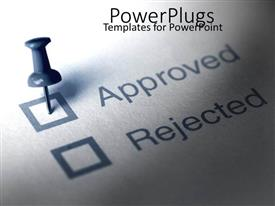 PowerPoint template displaying a beautiful depiction of an approved paper with the help of a pin