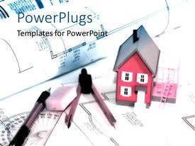 PowerPlugs: PowerPoint template with a beautiful depiction an architect's office planing of building a house