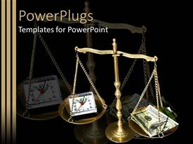 PowerPlugs: PowerPoint template with a beautiful depiction of a balance scale with money and clock