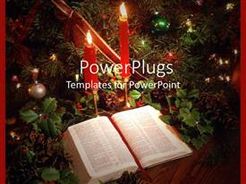 PowerPlugs: PowerPoint template with a beautiful depiction of Bible and candles along with celebration material