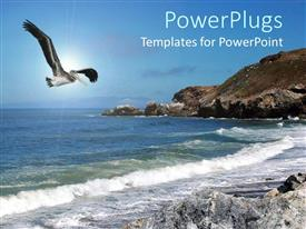PowerPlugs: PowerPoint template with beautiful depiction of a bird, mountain and water side