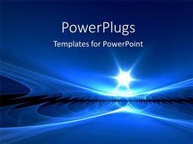 PowerPoint template displaying a beautiful depiction of a blue environment with a shining star