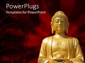 PowerPoint template displaying a beautiful depiction of Buddha along with a red background