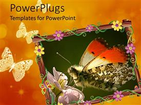 PowerPlugs: PowerPoint template with beautiful depiction of a butterfly on an orange background