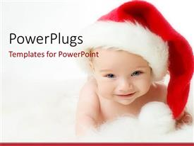 PowerPlugs: PowerPoint template with a beautiful depiction of a child celebrating Christmas