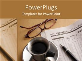 PowerPlugs: PowerPoint template with a beautiful depiction of a coffee and a newspaper on an office table
