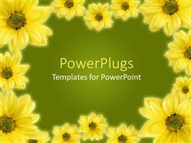 PowerPlugs: PowerPoint template with a beautiful depiction of a collection of sunflowers with a place for text