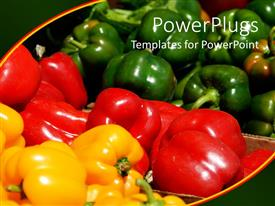 PowerPlugs: PowerPoint template with a beautiful depiction of a collection of vegetables with greenish background