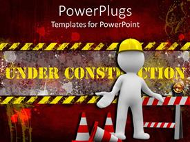 PowerPlugs: PowerPoint template with a beautiful depiction of a construction worker and construction signs