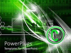 PowerPlugs: PowerPoint template with a beautiful depiction of copy right symbol with green background