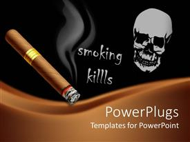 PowerPoint template displaying a beautiful depiction of the dangers of smoking