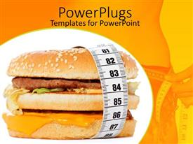 PowerPlugs: PowerPoint template with a beautiful depiction of a delicious looking burger with fitness background