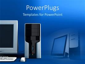 PowerPoint template displaying a beautiful depiction of a desktop personal computer along with its reflection