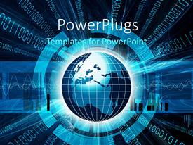 PowerPlugs: PowerPoint template with a beautiful depiction of a digital world with binary numbers in the background