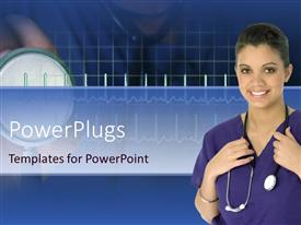 PowerPlugs: PowerPoint template with a beautiful depiction of a doctor with heartbeat line in the background